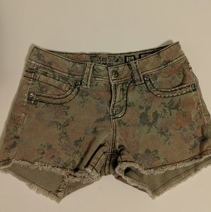 Miss Me Khaki Rose Print Shorts